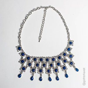 Royal Blue & Silver Statement Necklace